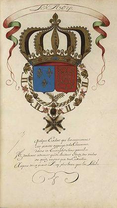 «Les noms et armes des chevaliers de l'Ordre du Saint-Esprit créés par Louis XIVe du nom, roy de France et de Navarre, à Paris, dans l'église des Augustins, le premier jour de l'an 1662», XVIIe s., 82 f. [BM Le Mans Ms 270]