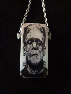 Halloween Jewelry Frankenstein Domino Pendant #halloween #jewelry #pendant www.loveitsomuch.com