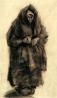 Woman with a Mourning Shawl, 1885, Vincent van Gogh Medium: chalk on paper