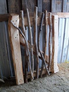 garten zaun Items similar to Rustic Garden Gate, Hand Hewn Hand Split an .- Items similar to Rustic Garden Gate, Hand Hewn Hand Split and Stickwork on Etsy Make a rustic garden gate out of branches yourself - Garden Gates And Fencing, Diy Garden Fence, Fence Gates, Easy Garden, Rustic Gardens, Outdoor Gardens, Rustic Fence, Garden Structures, Yard Art