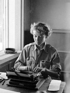 Korean War Correspondent Marguerite Higgins Typing Up a Story Premium Photographic Print