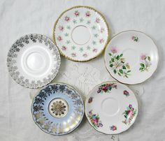 5 Mismatched Saucers, Bone China, Vintage, Shabby Chic, Cottage Style, Wedding or Event, Tea Party, Bridal Shower, Baby Shower