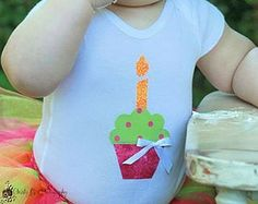 First, Second, Third birthday onesie shirt with cupcake and candle applique