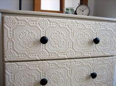 Old Dresser Makeover using wallpaper