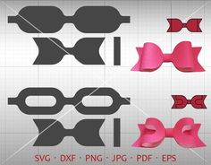Bow SVG, Hair Accessories Making Vector DXF Template Silhouette Cricut Cut File Commercial Use