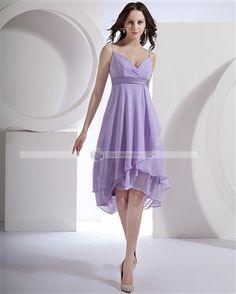 Amylinda™ Chiffon Spaghetti Straps Tea Length Bridesmaid Dress Gown