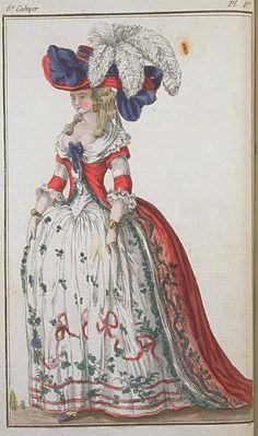Fashion plate, 1780's- hoop earrings!