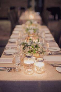 Classic Vintage Wedding at Stone Mill Inn from Alyssa Alkema Photography Table Setting Pictures, Wedding Centerpieces, Wedding Decorations, Wedding Ideas, Wedding Inspiration, Centre Pieces, Candle Jars, Mason Jars, Candles