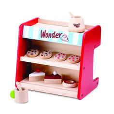 Hyggelig lille kaffebar med varehylder foran og kaffemaskine bagpå.  Nyt sjovt legetøj fra Wonderworld. Knapperne har kliklyd når de drejes... #Legekøkken #Legemad #Butiksleg #Købmandsleg #Wonderworld #NytLegetøj