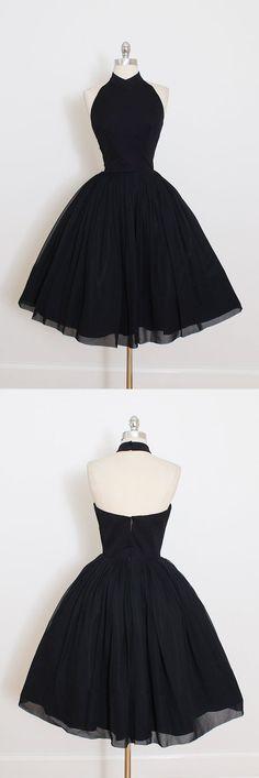 little black dress, 2017 short black prom dress, vintage prom dress, party dress