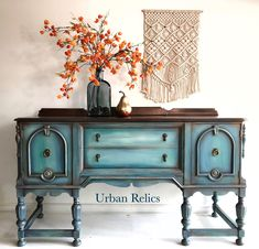 Turquoise and orange Refurbished Furniture, Upcycled Furniture, Furniture Makeover, Diy Furniture, Sanding Furniture, Furniture Making, Painted Buffet, Painted Sideboard, Decoupage