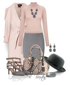 """""""Pink and Gray"""" by bbroxton ❤ liked on Polyvore featuring Coach, Salvatore Ferragamo, Edun, Whistles, Valentino, Soru Jewellery, Pieces, women's clothing, women's fashion and women"""