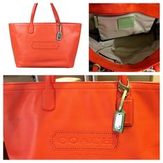 Coach Leather Weekender - Tangerine Beautiful and super soft tote with Turquoise accents- purchased right after Christmas but too small for my need. It's in great condition- kept in its dust bag since day one Coach Bags Travel Bags