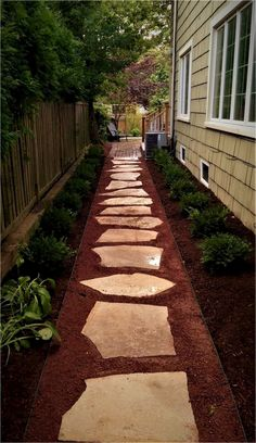 backyard garden paths lead our eye through a garden, and add allure and focus as effectively. Every backyard wants a path Side Yard Landscaping, Backyard Walkway, Outdoor Walkway, Walkway Ideas, Landscaping Ideas, Flagstone Walkway, Walkway Designs, Gravel Pathway, Stone Walkways