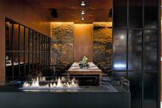 Fish&Fusion, Poltava, 2014 - YOD studio of commercial design Industrial Restaurant, Restaurant Bar, Bioethanol Fireplace, Fireplaces, Standing Fireplace, Design Lab, Commercial Design, Modern Design, Design Inspiration