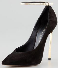 Casadei Suede Ankle-Strap Pumps