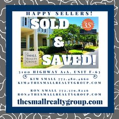 SOLD & SAVED! Our seller saved and received over asking price! Call Kim… Kim And Ron, Indian River County, Vero Beach Fl, Treasure Coast, Coastal Living, Small Groups, Cooker Recipes, Slow Cooker, Florida