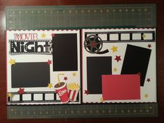 Movie Night - Scrapbook layout - PPBN with Popcorn, Coke, Filmstrip, Movie Reel and Stars. Double page layout.