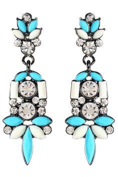 Amrita Singh - Holi Dangle Earrings in Turquoise and Ivory