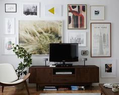 How to hang art around a tv
