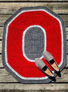 Ohio State Rug - OSU Crochet Rug - Crochet Block O Mat - Customizable OSU Scarlet and Gray Throw Rug - Ohio State Home Decor by scarletngreycrochet on Etsy https://www.etsy.com/listing/242538728/ohio-state-rug-osu-crochet-rug-crochet