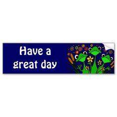 Funny Frog Folk Art Design Bumper Stickers #frogs #happy #folkart #bumperstickers #art #animals #zazzle #petspower