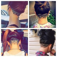hairstyle. shaved back of head for woman! designed hair for woman!