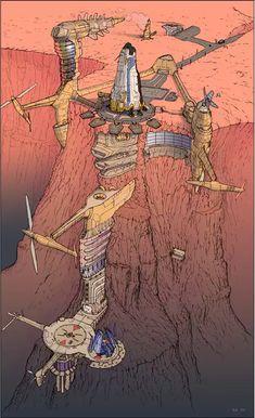 Art: Moebius - Imgur Fantasy Landscape, Fantasy Art, Jean Giraud, Nogent Sur Marne, Moebius Art, Character Art, Character Design, Ligne Claire, Futuristic City