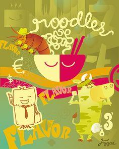 Grade noodles, chiken capitalismo