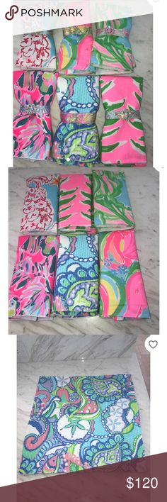 "Lilly Pulitzer Napkin Set with Bracelet Rings Brand new hand made set of 6 17x17"" napkins made with Lilly Pulitzer fabrics and coordinating magnetic bracelets that can be used as Napkin rings. Lilly Pulitzer Other"
