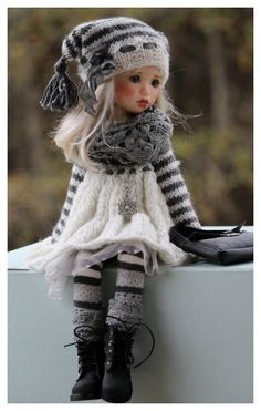 Winter outfit for msd Hannah MyMeadow  or msd Kaye Wiggs dolls by basiasweaters on Etsy