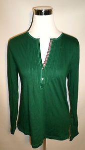 NWT $40 Ralph Lauren CHAPS Womens Size L Henley Shirt in Vibrant Emerald, Knit