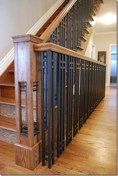 Looking for Staircase Design Inspiration? Check out our photo gallery of Modern Stair Railing Ideas. Modern Stair Railing, Stair Railing Design, Modern Stairs, Deck Railings, Railing Ideas, Stair Spindles, Staircase Ideas, Craftsman Remodel, Craftsman Style