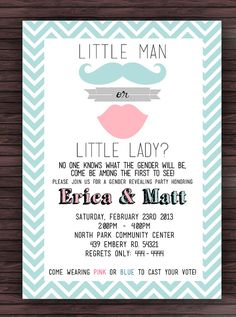 Gender Reveal invite wording Baby gender Reveal party