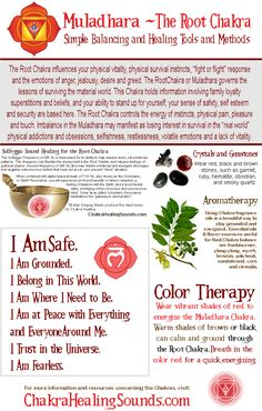 The Muladhara or Root Chakra. Balancing crystals, gemstones, sound, affirmations, color therapy and aromatherapy. Visit our webpage for more information and resources.