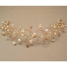 Bridal Hair Vine Tiara, Wedding Hair Accessories, Honey Golden Blend... ($58) ❤ liked on Polyvore