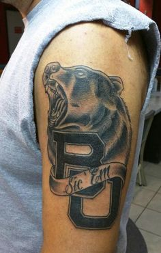 "Incredible Baylor BU tattoo, complete with a bear and ""Sic 'Em"""