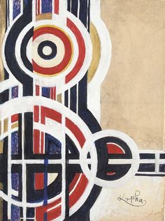 Descending circles by Frantisek Kupka (1871-1957, Czech Republic)