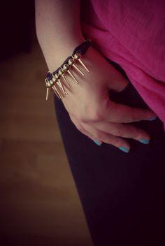 Punk Style Spike Embellished Bracelet