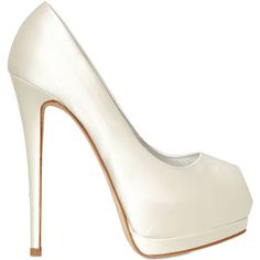 GIUSEPPE ZANOTTI 150mm Open Toe Satin Pumps - White ($514) ❤ liked on Polyvore featuring shoes, pumps, heels, sapatos, high heels, white, white shoes, peep toe platform pumps, white satin shoes and high heel platform pumps