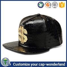 2be3b76b0eb Online sell PU leather face flat brim snapback cap customized K products  caps metal plate logo USD sports hats