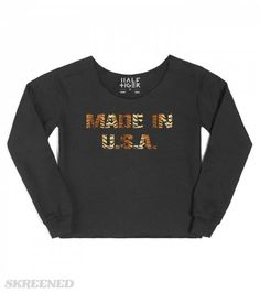 Made In USA | Womens Chopped Sweatshirt / Blackwith Made In USA tiger lettering print #Skreened