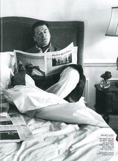 Alec Baldwin looking good in Derek Rose - Verona Blue Silk Robe and Lingfield Blue Pyjamas in Vanity Fair