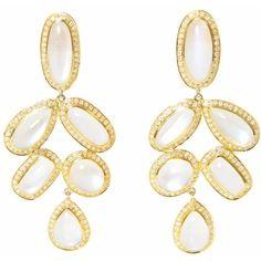 Ri Noor - Diamond Moonstone Earrings (€9.565) ❤ liked on Polyvore featuring jewelry, earrings, 18k earrings, 14k earrings, 14k diamond earrings, diamond earrings and diamond jewelry
