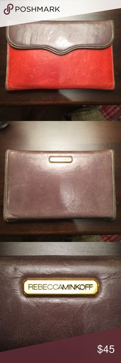 Vintage Rebecca Minkoff Passport Wallet This is one of my favorite wallets! I love the salmon pink and light gray color contrast and the exposed zipper trim. I get so many compliments when rocking this as a clutch or wallet. This wallet does shows signs of wear, but I think she just gets better with age and use! There are 20 credit card slots, two main pockets and a slide out coin purse. Good used condition, surface scratches and darkening of leather are primary signs of wear. Love! 💕…