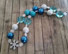 Frozen Ice queen inspired children chunky bubblegum bead necklace, blue and silver, snowflake, frozen winter wonderland