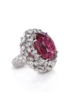 @levievdiamonds Rubellite and Diamond Ring totaling 41.02 carats, handcrafted in platinum #jewelry #extraordinary