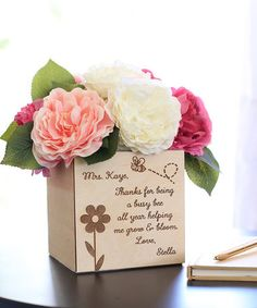 $14.99 marked down from $29.99! 'Thanks For Being' Personalized Teacher Planter Box #teacher #gift #personalized #zulilyfinds