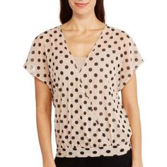 French Laundry Women's Polka Dot Crossover Dolman Top, Size: Small, Beige
