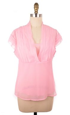 Chadwick's Pink Sheer Two Piece Top with Tanktop inside | ClosetDash  #fashion #style #tops